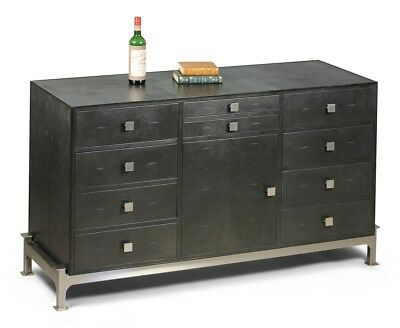 """60"""" Lorna Drawer Cabinet Leather Stainless Steel Antique Grey Shagreen Finish Si"""