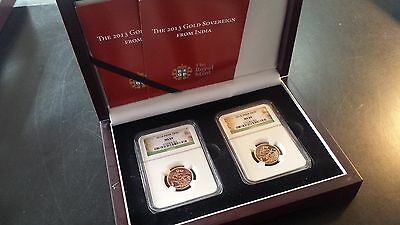 India 2013I Gold Sovereign MS69 NGC 3792603-063  and -066 (Lot of 2)
