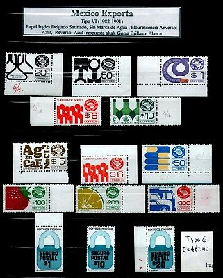 MEXICO EXPORTA Type 6 Collection of 14 stamps Shades & Varieties E= $82.50