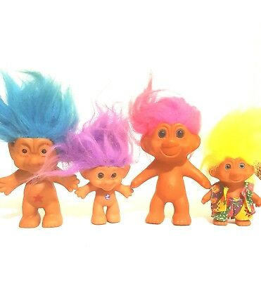 Vintage 90's Troll Dolls Lot of 5 Various Sizes