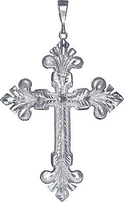 Huge Heavy Sterling Silver Cross without Jesus Pendant Necklace 5.1 Inches 20 Grams