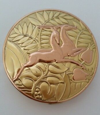 Vintage EVANS Sterling Silver Compact with Raised Leaping Gazelles. Must See!