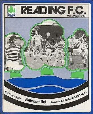 Reading FC  v Rotherham 1978 programme Laegue Cup Replay