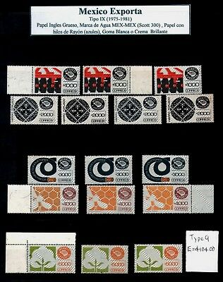 MEXICO EXPORTA Type 9 Collection of 16 stamps Shades & Varieties E= $104