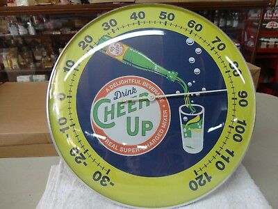 "Cheer Up Soda Thermometer With Bottle Graphic 12"" Glass Lens Beautiful Colors"