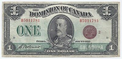 Bank of Canada 1923 one 1 dollar bill B5011781 Cavour & Saunders