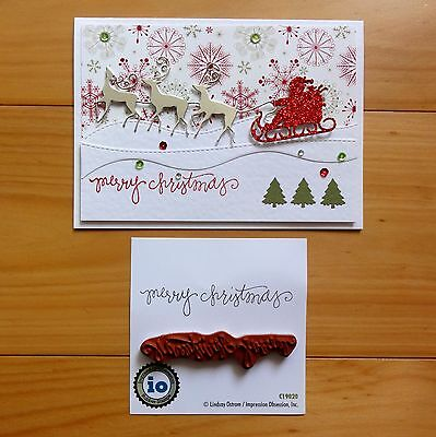 Impression Obsession Merry Christmas #4 Christmas Sentiment Cling Stamp Bnip
