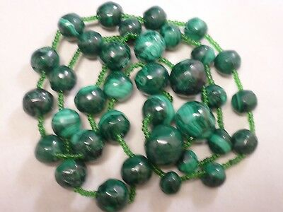 Vtg Genuine Malachite Gemstone Beads Strand Necklace,  VERY OLD WITH glass beads