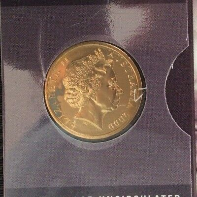 Olymphilex 2000 Uncirculated $1 coin x 2 Canberra & Sydney edge lettered (Toned)