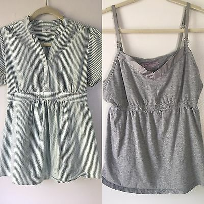 Motherhood Maternity Women's Medium M Lot 2 Nursing Tank And Seer Sucker Blouse
