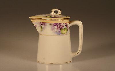 Nippon Handpainted Purple Violet Syrup/Cream Pitcher and Lid, Japan c. 1920s