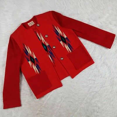 Vintage Chimayo Blanket Ganscraft Jacket Hand Woven Wool Red Southwestern 1950s