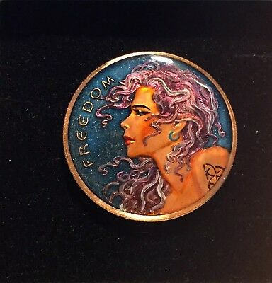 """Enamelled Coin 1 oz .999 Copper round SBS """"Freedom Girl"""" 2016"""