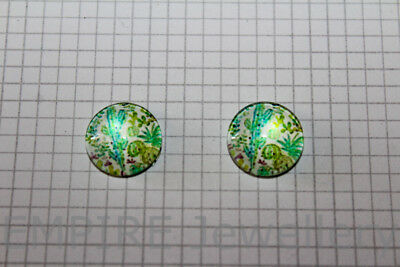 2 x Cactus Plant #4 12x12mm Glass Cabochons Cameo Dome Succulent Desert