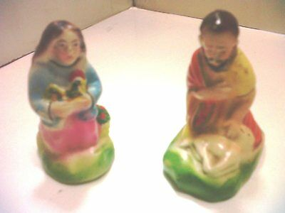 Old portuguese nativity figurines - worshippers with sheeps