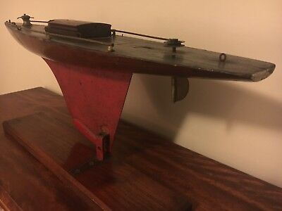 Vintage Model Wood Pond Yacht Wooden Sailboat Antique on Stand