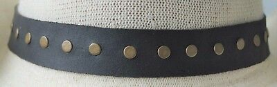 HAT BAND Dark Brown Leather Stud detail JACARU Badge for cowboy & style hats