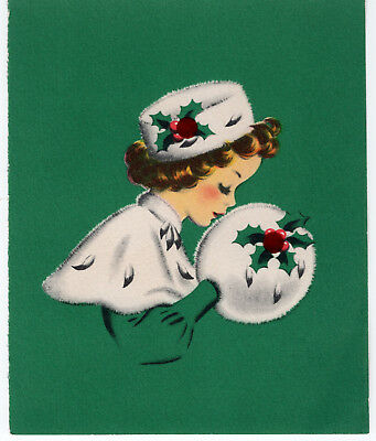 Pretty Girl Woman Lady Cape Muff Teal *Front Only* VTG Christmas Greeting Card