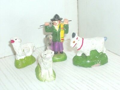 Old portuguese nativity figurines - shepherd and sheep