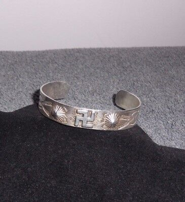 1930's Vintage Coin Silver Navajo Raised Concho Whirling Log Cuff Bracelet