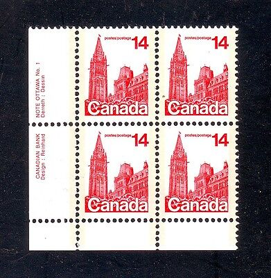 "Bengphil Canada 715viii ""Closed Blind"" variety in plate bloc of 4 mnh CV$10"