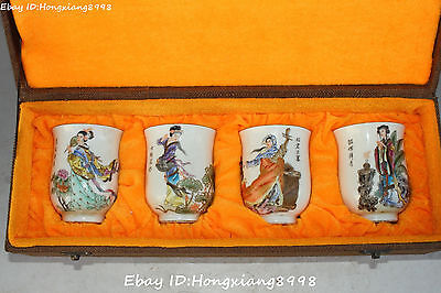 Chinese Ancient Dynasty Porcelain 4 Four Belle Beauty Girl Cup Cups Statue Set