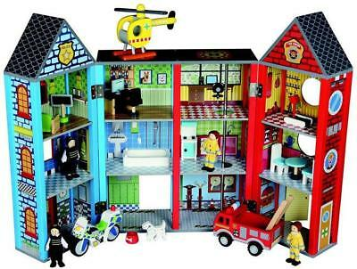 NEW Bubbadoo Wooden Emergency Rescue Playset - Fire Station & Police Station