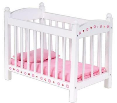 NEW Bubbadoo Wooden Doll Cot Bed including Bedding