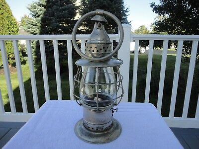 Antique WM. PORTER'S SONS N.Y. Fire Department Kerosene Oil Lantern W/ Globe