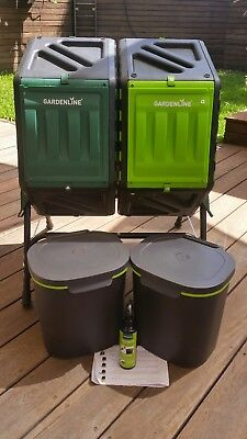 Bokashi composting kit indoor bins and rotating bin outdoor