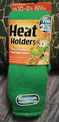 Heat Holders- The Ultimate Thermal Sock  Boys Girls Kids  Green  Us 10-2 1/2