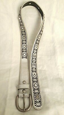 Youth S/M Miss Me Leather Belt with Bling Rhrinestones! Silver 32674