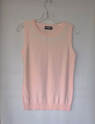 Karl Lagerfeld Pink Studded Pearl Knit Top Size M