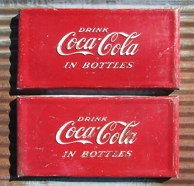 Original 1940s 50s Drink COCA COLA in Bottles METAL SIGN vintage antique button