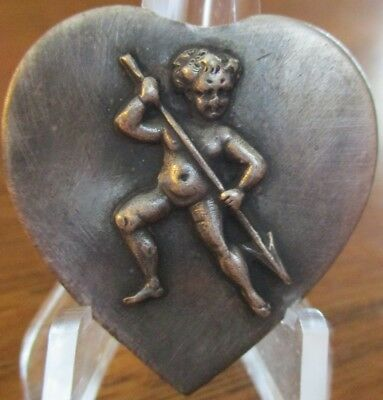 """Very Old French Silver/pl 1940s Vintage Button """"HEART SHAPED~CHILD W/ARROW"""""""
