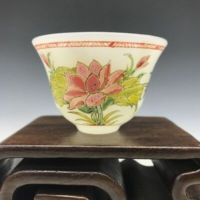 Collect old Beijing coloured glaze cup pure manual painting men & women