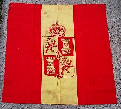 Vintage Spanish Flag or Banner, Crown Rampant Lion Castle Red & Yellow