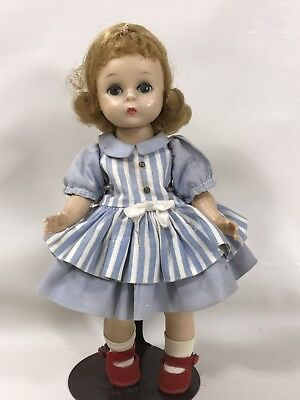 "Madame Alexander Blonde 1950s Alexander-Kins 8"" Doll Blue Striped Dress Red Shoe"