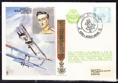 """Belgium 1977 """"Trident""""  Willy Coppens de Houthulst Flight Cover"""
