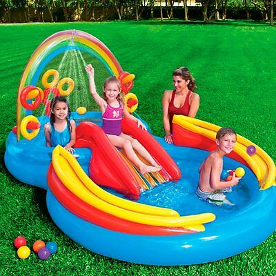 Kids Inflatable Pool Wading Water Slide Play Center Ring Toss Game Toddler NEW
