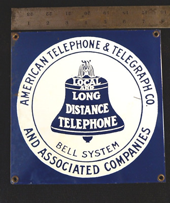 "Vintage Telephone Phone Booth Porcelain Enamel Metal Sign Bell System 8 x 8"" sq."
