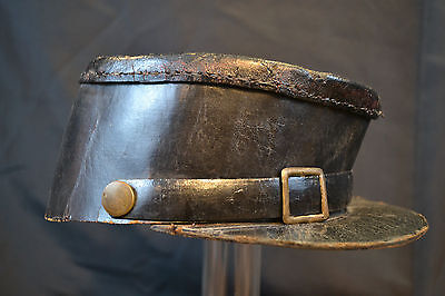 Antique Original Civil War Era Black Leather Kepi Shako Cap Confederate Or Union
