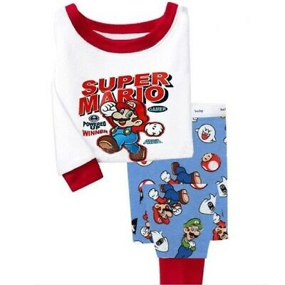 Kids boys Super Mario Bros pajamas set 2T cotton sleepwear pyjamas nightclothes