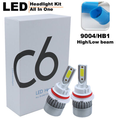9004 HB1 72W 7600LM COB LED Headlight Headlamp Kit High/Low Beam 6000K White