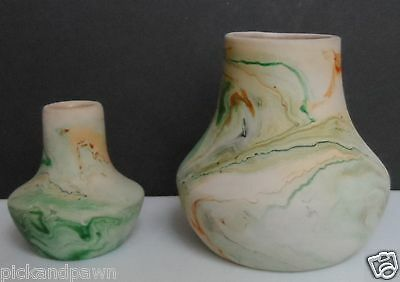 Nemadji American Art Pottery Medium Size Vase and Small Vase Green Orange Beige