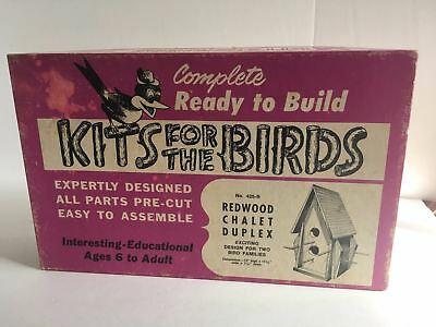 Vintage 1967 Birdhouse Kit Redwood Chalet Duplex Ready to Build Kits for Birds