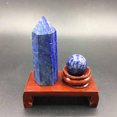 2pcs natural lapis lazuli crystal point & lapis lazuli crystal sphere ball+stand