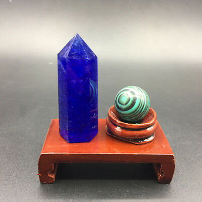 2pcs Melting blue crystal point & MALACHITE crystal sphere ball reiki healing