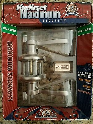 Kwikset 200Ll Rh 15 Cp Bbpkg Satin Nickel Maximum Security Hall & Closet Right