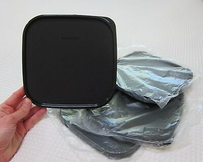 4x Tupperware Modular Mates LIDS ONLY Square III - Black